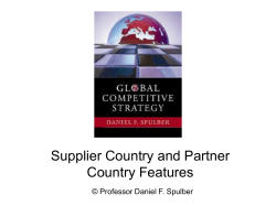 Supplier Country and Partner Country Features © Professor Daniel F. Spulber