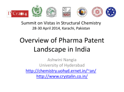 Overview of Pharma Patent Landscape in India Ashwini Nangia