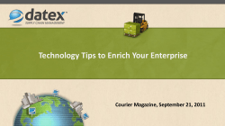 Technology Tips to Enrich Your Enterprise Courier Magazine, September 21, 2011