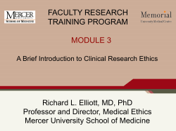 FACULTY RESEARCH TRAINING PROGRAM MODULE 3