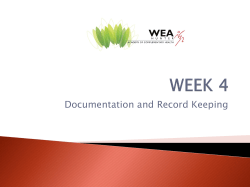 Documentation and Record Keeping