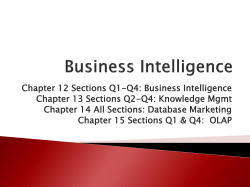 Chapter 12 Sections Q1-Q4: Business Intelligence