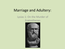 Marriage and Adultery: Lysias 1: On the Murder of Eratosthenes
