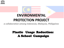 ENVIRONMENTAL PROTECTION PROJECT Plastic   Usage  Reduction: A School  Campaign