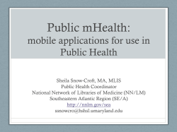 Public mHealth: mobile applications for use in Public Health