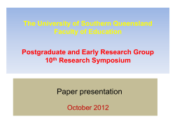 Paper presentation The University of Southern Queensland Faculty of Education