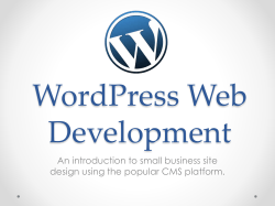 WordPress Web Development An introduction to small business site