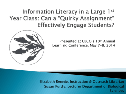 Presented at UBCO's 10 Annual Learning Conference, May 7-8, 2014