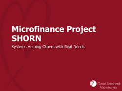 Microfinance Project SHORN Systems Helping Others with Real Needs