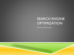 SEARCH ENGINE OPTIMIZATION Donna Habersaat