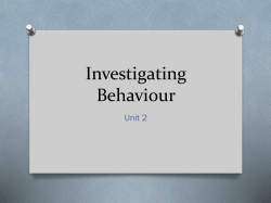 Investigating Behaviour Unit 2
