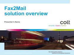 Fax2Mail solution overview Presenter's Name