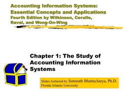 Chapter 1: The Study of Accounting Information Systems Accounting Information Systems: