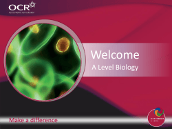 Welcome A Level Biology Make a difference