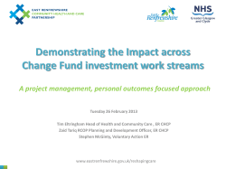 Demonstrating the Impact across Change Fund investment work streams