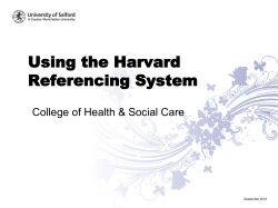 Using the Harvard Referencing System College of Health & Social Care September 2010