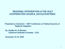 REGIONAL INTEGRATION of THE GULF COOPERATION COUNCIL (GCC)COUNTRIES