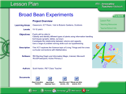 Broad Bean Experiments Project Overview Learning Areas Levels