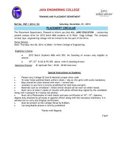 JAYA ENGINERING COLLEGE  PLACEMENT CIRCULAR