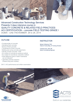 Advanced Construction Technology Services Presents 3 days intensive course in: