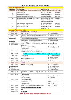 Scientific Program for GDBPCON XIII Friday, 5 December 2014 2pm-6pm