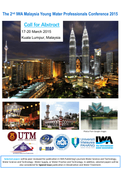 Call for Abstract The 2 IWA Malaysia Young Water Professionals Conference 2015