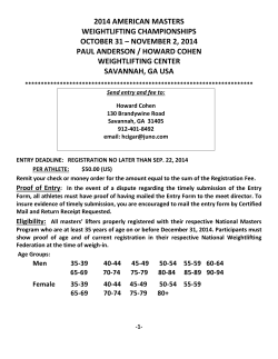 2014 AMERICAN MASTERS WEIGHTLIFTING CHAMPIONSHIPS OCTOBER 31 – NOVEMBER 2, 2014