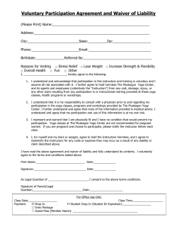 Voluntary Participation Agreement and Waiver of Liability