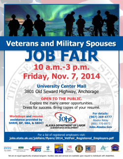 JOb FAiR 10 a.m.-3 p.m. Friday, Nov. 7, 2014 Veterans and Military Spouses