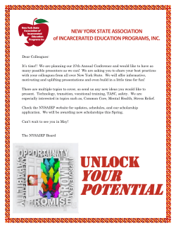 NEW YORK STATE ASSOCIATION of INCARCERATED EDUCATION PROGRAMS, INC.