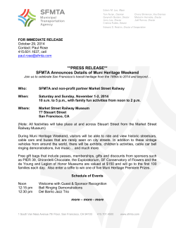 **PRESS RELEASE** SFMTA Announces Details of Muni Heritage Weekend