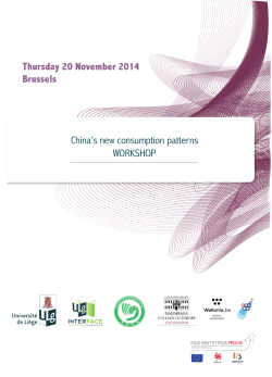 Thursday 20 November 2014 Brussels China's new consumption patterns WORKSHOP