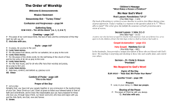 The Order of Worship  We Hear God's Word