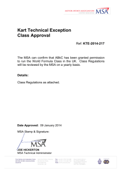 Kart Technical Exception Class Approval  KTE-2014-217