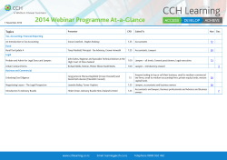 CCH Learning 2014 Webinar Programme At-a-Glance Topics