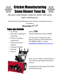 Cricket Manufacturing Snow Blower Tune Up Tune-ups include $30