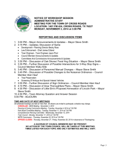 NOTICE OF WORKSHOP SESSION ADMINISTRATIVE STAFF