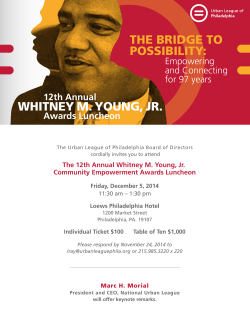 THE BRIDGE TO POSSIBILITY: WHITNEY M. YOUNG, JR.