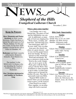 Shepherd of the Hills  Evangelical Lutheran Church Keep In Prayers