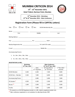MUMBAI CRITICON 2014 Registration Form (Please fill in CAPITAL Letters)  14