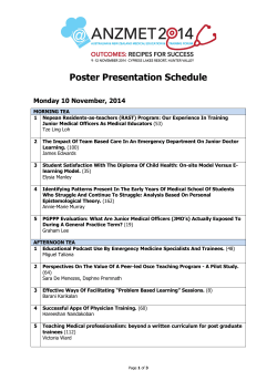 Poster Presentation Schedule Monday 10 November, 2014
