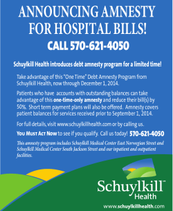 ANNOUNCING AMNESTY FOR HOSPITAL BILLS!  CALL 570-621-4050