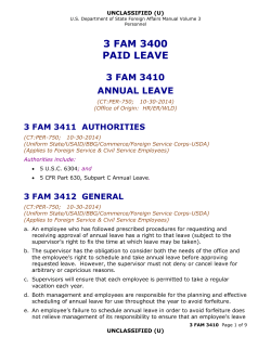 3 FAM 3400 PAID LEAVE 3 FAM 3410 ANNUAL LEAVE