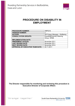 PROCEDURE ON DISABILITY IN EMPLOYMENT