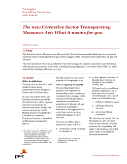 The new Extractive Sector Transparency In brief In detail