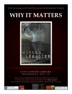 WHY IT MATTERS Film Screening and Panel Discussion on Residential Schools