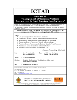 "ICTAD Seminar on ""Management of Common Problems Encountered in Local Construction Contracts"""