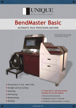 BendMaster Basic AUTOMATIC RULE PROCESSING MACHINE