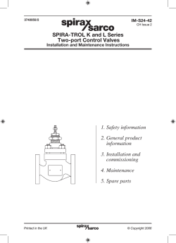 SPIRA-TROL K and L Series Two-port Control Valves 1. Safety information
