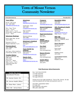 Town of Mount Vernon Community Newsletter